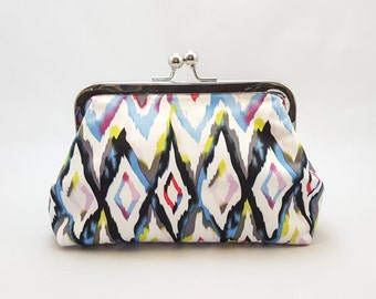 Blue Chevron Tribal clutch purse, gift for her, personalised gift, Birthday present, bridesmaids gift, wedding clutch, Handcrafted in uk