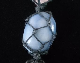 Handmade Blue Quartz, Rose Quartz and Hematite macrame necklace