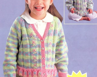 Childrens Round Neck & V Neck Cardigans, Newborn to 6 Year Old, Knitting Pattern. PDF Instant Download.