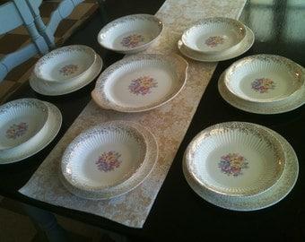 Sale!  14 piece vintage set Royal China Union Made Royal Bouquet 22 kt gold Sebring Ohio