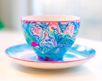 Lilly Pulitzer inspired mermaid cup and saucer