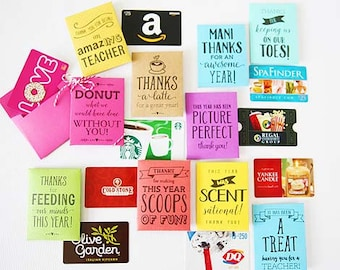 End of the year teacher gift card holders