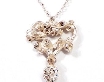 Rose vine design pendant necklace with Swarovski crystal drop