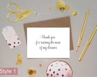 Thank you to my mother-in-law for raising the man of my dreams, bridal party wedding day thank you card, hand lettered calligraphy font, UK