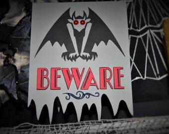 Halloween Gargoyle Beware Greeting Card