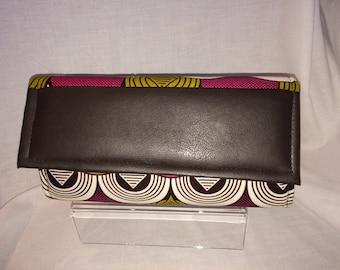African print art- deco pattern clutch bag