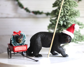 Christmas Decoration Christmas Table Decor Christmas Bear Woodland Christmas Mantle Cake Topper