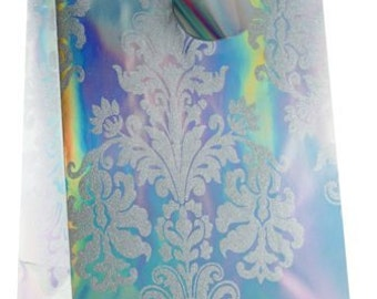 NEW! 6 Large Foil & Glitter All Occasion Glamorous Colored Gift Bag,