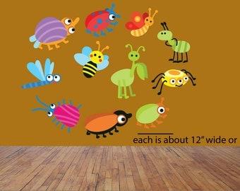 Bug wall decals, Boys room wall decal, Bedroom wall decals, insect stickers, Bugs wall decal, Boys wall stickers, Boys room decals, Insects