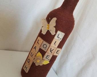 Custom twine wrapped wine bottle / upcycled bottle/ string covered / bud vase / candle holder / ornamental / home decor/ live love laugh