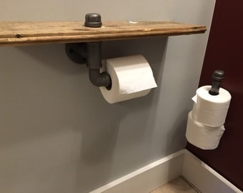 FQI-0031-KIT: Industrial Toilet Paper Dispenser with Vintage Wood Shelf and Spare TP Holder