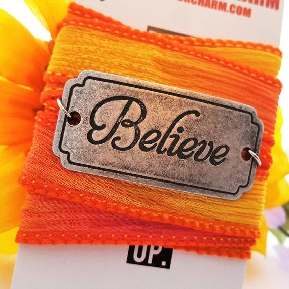 Believe Charm Silk Ribbon Wrap, Sports Jewelry, Hand-Dyed Silk, BELIEVE Wrist Wrap, Motivational Inspirational Gifts, Believe Charm Bracelet
