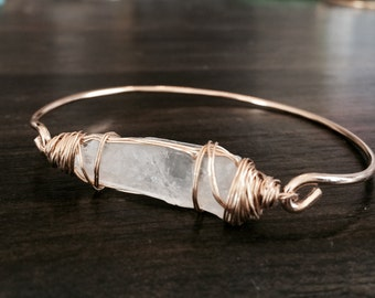 Raw Quartz Crystal Bangle