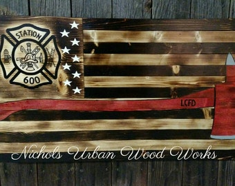 Firefighters Flag Wood American Flag Hidden Gun Flag American Flag Rustic  Gun Concealment Flag Gun Cabinet