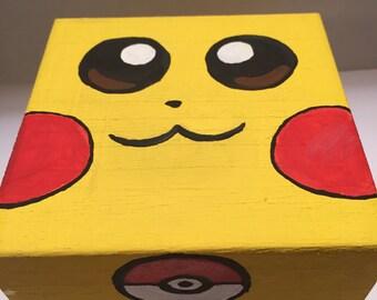 Hand Painted Pikachu Trinket Box