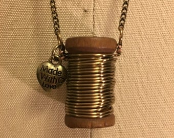 Wooden Spool Necklace