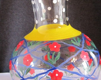 Glass Vase, Painted Glass Vase, Hand Painted Vase