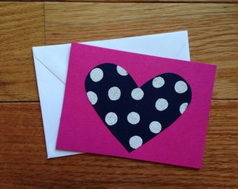 Valentine's Day Card: hot pink, navy, and white
