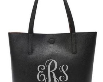 Monogram reversible tote purse, bag leather like, brown/black, custom personalized gift for mom, sister, friend. Monogram.