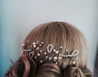 Bridal hair vine blush, wedding hair vine, freshwater pearls, bridal hair comb pearl gold; gold wedding accessories