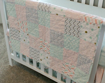 Baby Girl Quilt Soft Light Pink, Gray and Green Colors, Multipatterned Chevron, Polkadots FREE SHIPPING