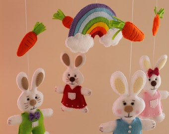 Rabbit Felt Baby Mobile, Crib Mobile,  Nursery Mobile, Ready to Ship, Kids, Gift