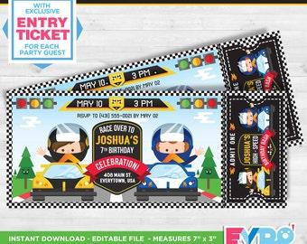 Hot Wheels Birthday.Hot Wheels Invitation.Race Car Invitation. Race Car Party.Race Car Birthday.Racing Invitation. Printable Invitation