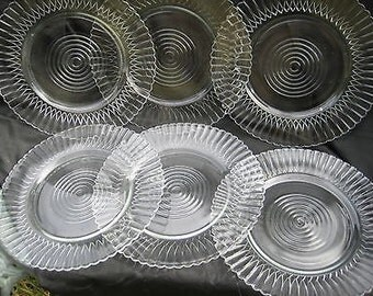 MACBETH EVANS clear PETALWARE Plates Set of 6