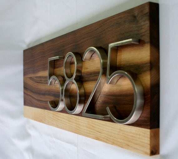 Modern Signature Series Walnut and Maple Address Plaque- Custom- House Numbers Sign- Address Sign- Modern House Numbers