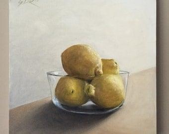 Lemon Wall Art Original Oil Painting Fruit Wall Art Food Art Lemon painting Fruit Painting Kitchen Painting Lemon Painting Kitchen Decor Art