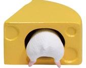 FREE shipping worldwide. Hamster Figurine Cheese White