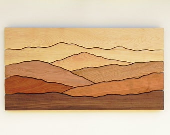 Mountain Wall Art, Wall Decoration, Modern Wood Design, Wood Wall Art, Modern Decor, Mountain art, Ridge, Hiking Gift