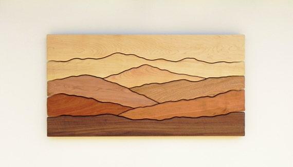 Mountain scene wall art /Sugar maple, Yellow birch, Red birch, Cherry, Butternut, Mahogany, Black walnut/
