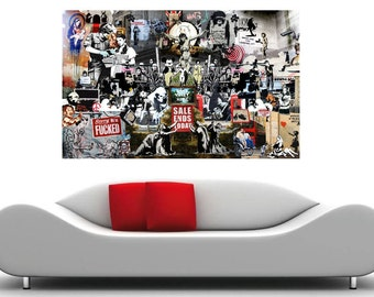 Banksy Collage Insane Street Art Canvas Print Huge 36 x 24 print