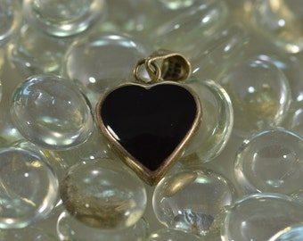 Turquoise/Onyx Reversible Heart Charm / Pendant Sterling Silver 6.8g Vintage Estate
