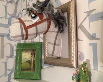 Plaid plush faux taxidermy horse pony head, gentlemans room, living room adult wall art