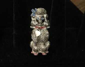 Vintage Poodle Brooch, Silvertone with Colors