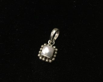 Vintage Sterling Pendant, Pearlish Stone