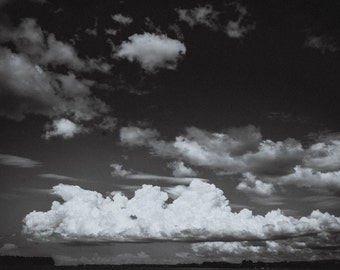 nature photography - black and white clouds with sky - new zealand fine art print - wall art