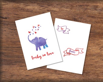 Printable Watercolor Elephant Valentine's Day Card- INSTANT DOWNLOAD, Lucky in Love