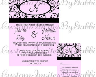 wedding invitation and rsvp (pink and vintage)