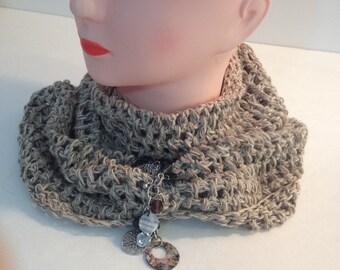 Linen circle scarf Beige linen scarf Crocheted beige scarf Scarf with bracelet