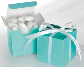 50 Robins Egg Blue Square Wedding / Party Favour Boxes. Ready Assembled 6cm square