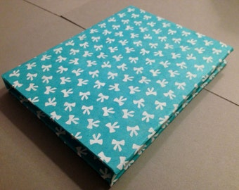 Handmade Hand Sewn Blank Notebook/Sketchbook White Bows on Blue Paper