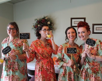 floral kimono bridal party robes
