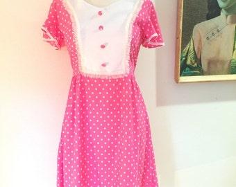 Vintage 70s pink polka dot mini dress