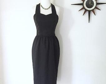 Vintage 80s does 50s black wiggle dress, madmen style halter dress