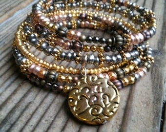 Gold and copper beaded bracelet