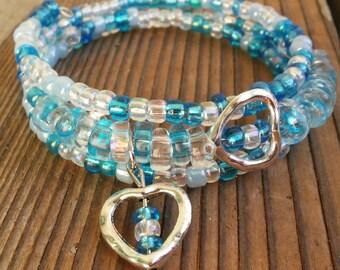 Little girls blue beaded heart bracelet