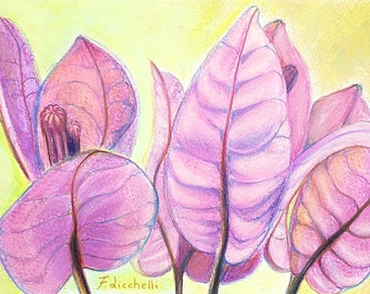 Small picture, bouganvillea flowers, original drawing, ooak, mixed media on paper, sister's birthday , bedroom art, home office decoration.